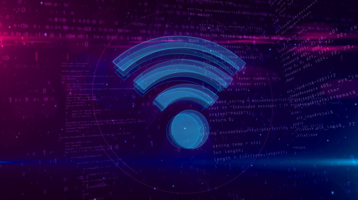 Wi-fi sign on digital background.