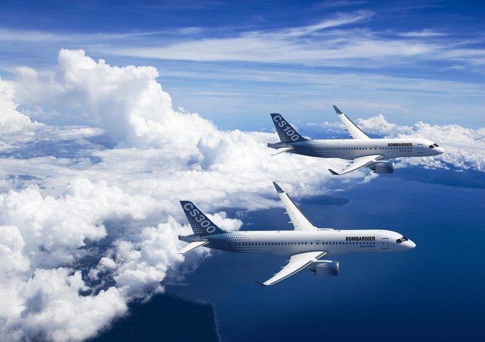 Two A220 jets flying in formation in an artist rendering.
