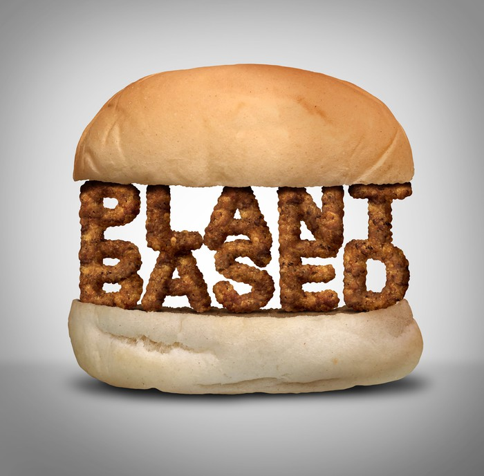 "Picture of Sandwich with the words ""Plant Based"" as the patty"