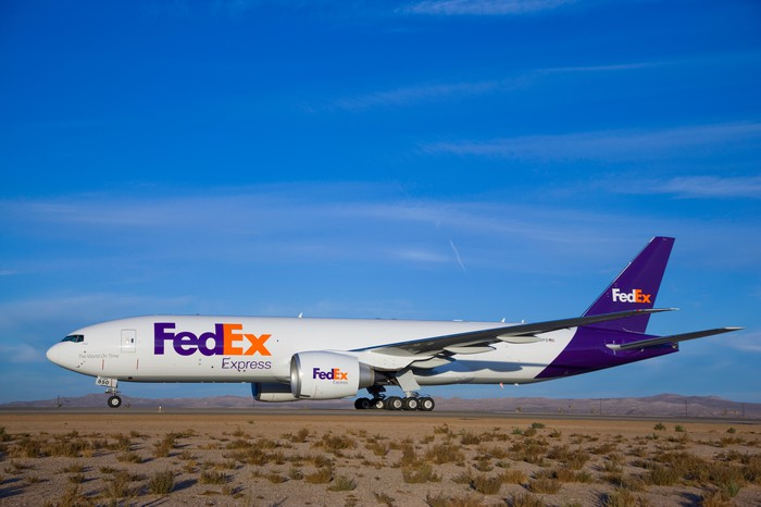 A FedEx jet on the runway