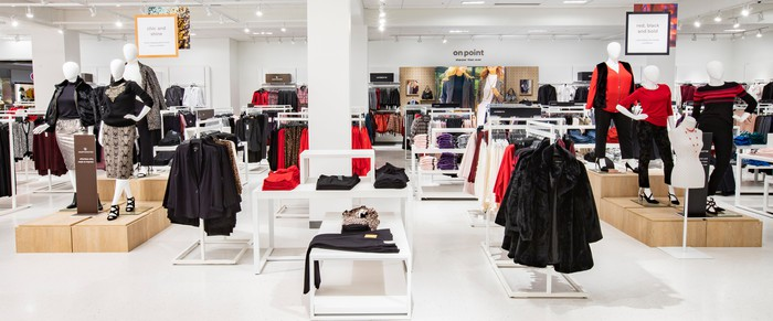Apparel displays from inside the new JCPenney store concept