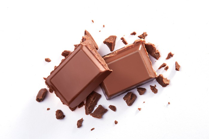 Two squares of chocolate.