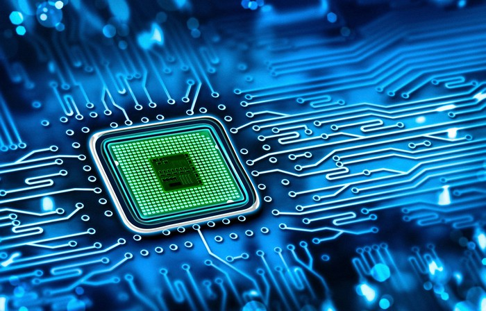 A chip in an integrated circuit.