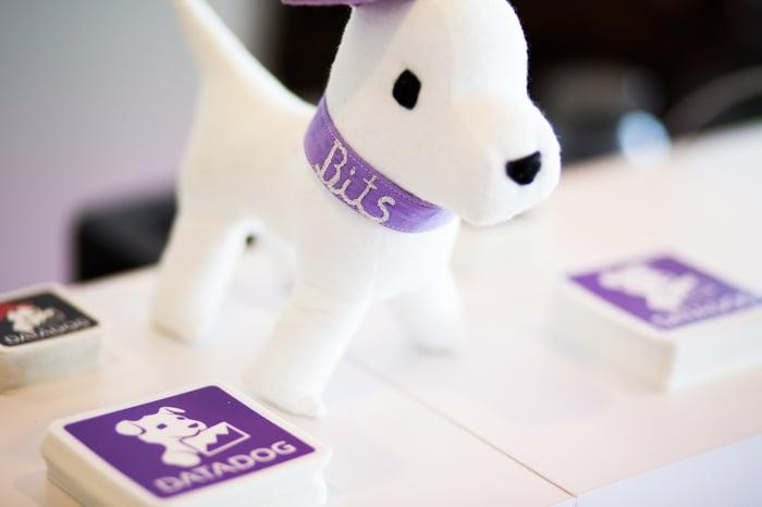 A plush doll of Bits, the Datadog mascot.