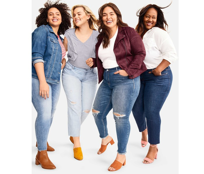Four women dressed in Old Navy clothes