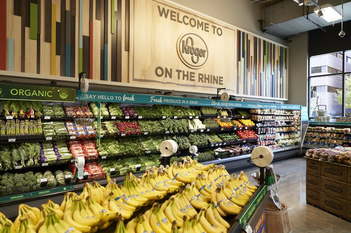 The produce section of a Kroger store.