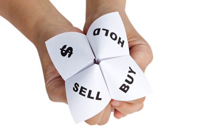A pair of hands holding a paper fortune teller, with the quadrants marked with a dollar sign and the words hold, sell, and buy.