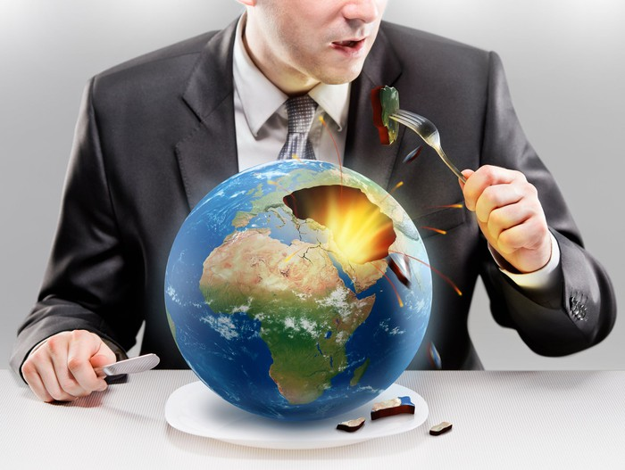 Man eating the earth