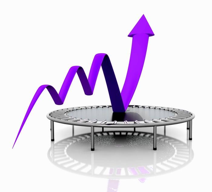 A purple charting arrow bounces skyward off a trampoline.