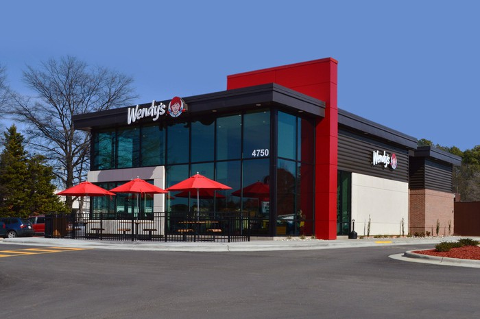 The exterior of a renovated Wendy's restaurant.