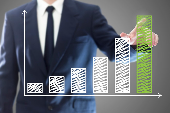 A man in a business suit is pointing to a bar chart showing rapid growth across six data points.