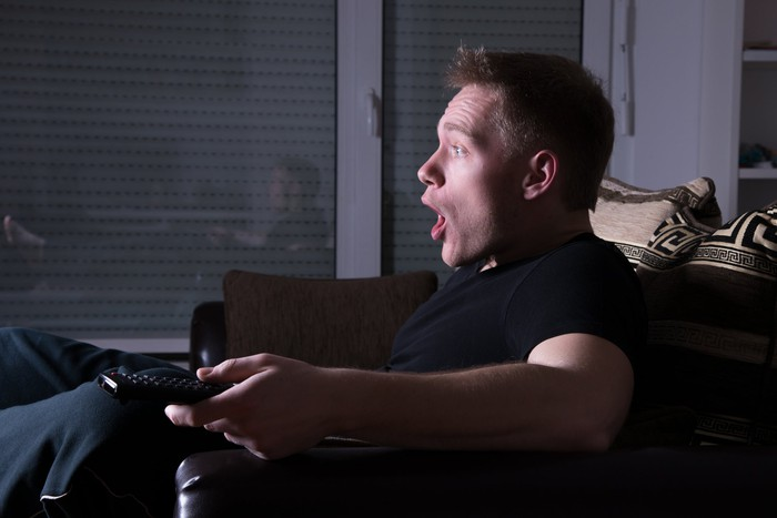A young man sits on a couch, facing an unseen TV screen with the remote in his hand and a drop-jaw look of either excitement or terror on his face.