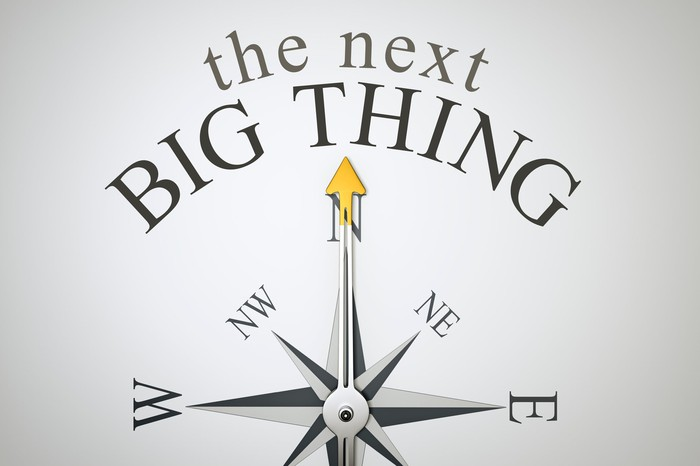 A compass points north toward the words the next big thing.