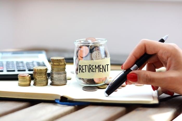 Jar of money labeled retirement savings.