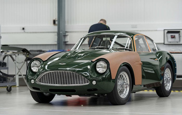 A green Aston Martin DB4 GT Zagato Continuation, shown during final assembly at Aston Martin's factory.