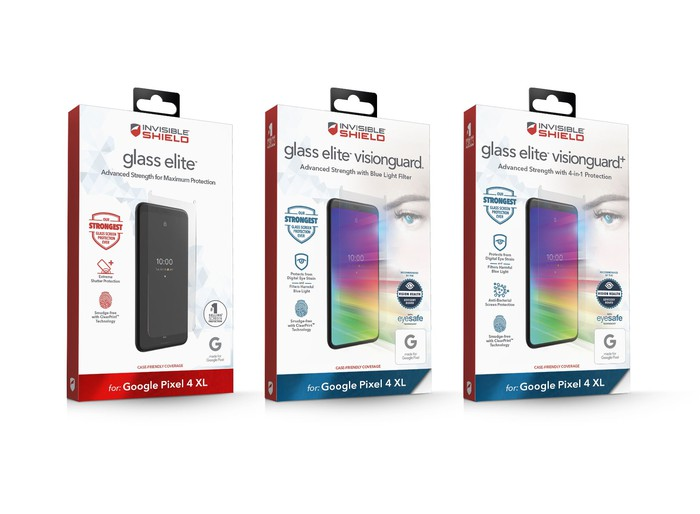 Three Zagg screen protector product boxes