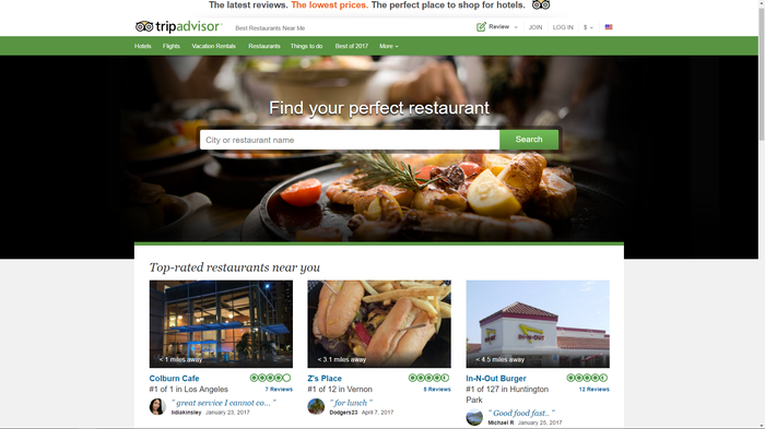 TripAdvisor website page, with three destinations and a picture of food at a restaurant.