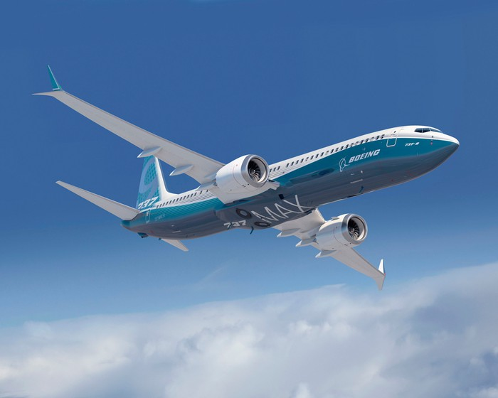A rendering of a Boeing 737 MAX in the sky.
