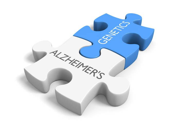 Puzzle pieces with words Alzheimer's and Genetics
