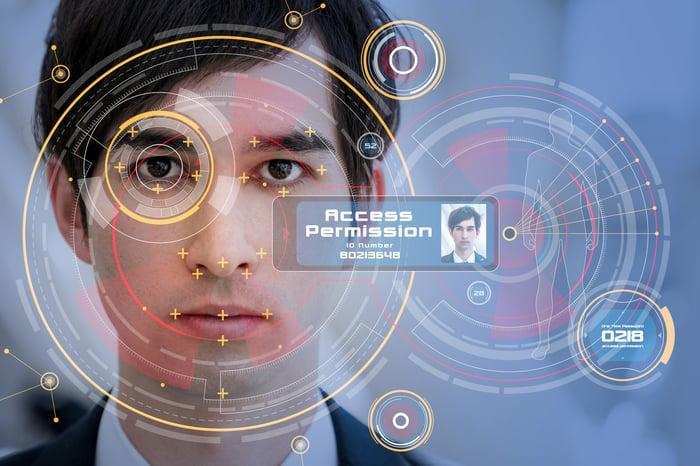 Digital representation of biometric security.