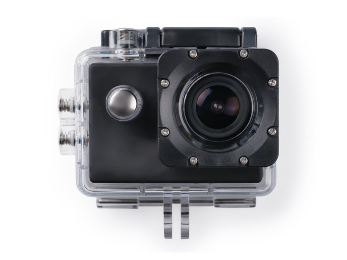 Action camera in a waterproof box.