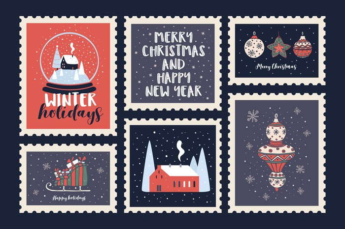 Six winter-themed postage stamps