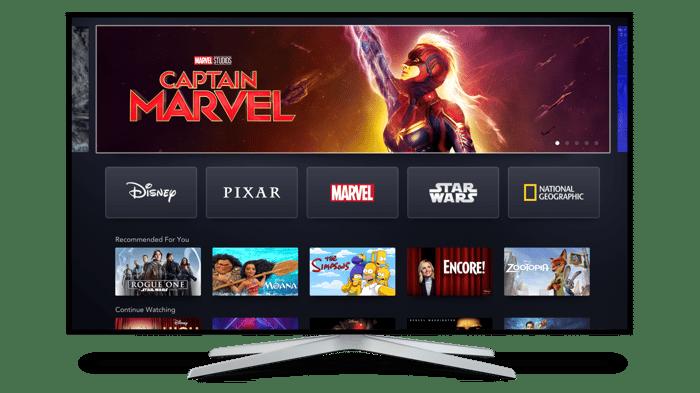Disney+ displayed on a TV.