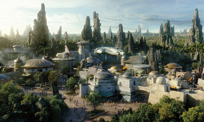 An overhead view of Disney's Star Wars: Galaxy's Edge attraction at Disneyland