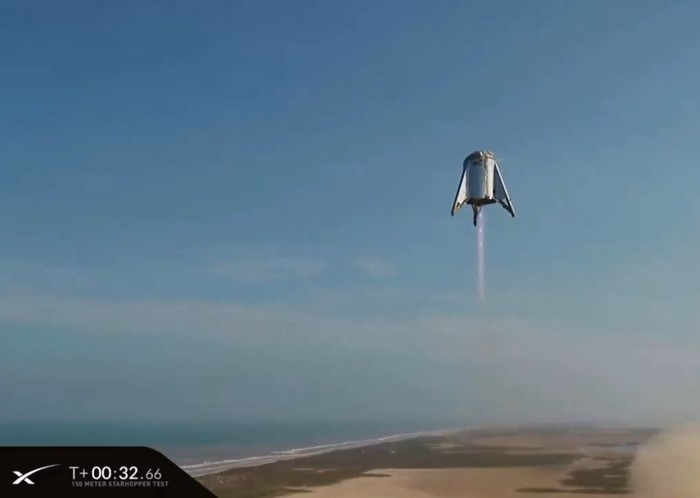 Starship testbed Starhopper in flight