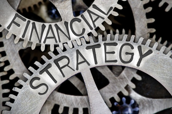 Two interlocking gears are shown, with the words financial strategy on them.