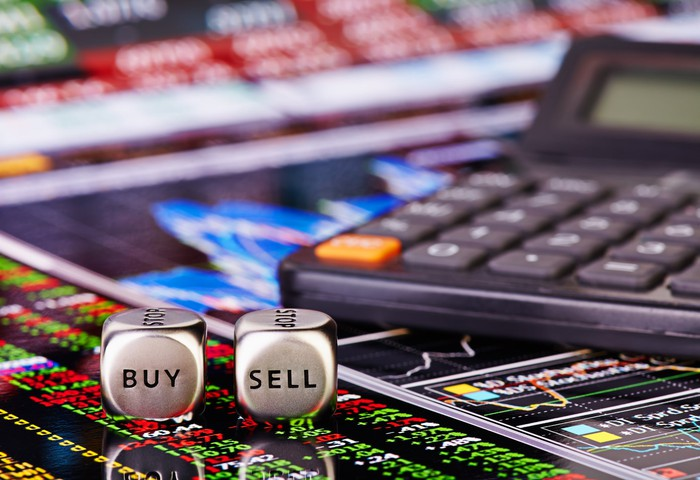 Beside a calculator, a pair of silver-colored dice show the words buy and sell.