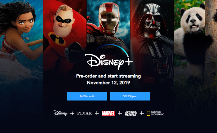 An image of a character from each of Disney's studios that will be providing content for the service along with some basic info.