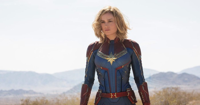 Captain Marvel with a mountain range behind her.