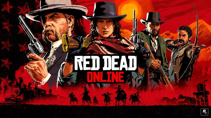 Game art for Red Dead Online depicting four characters wearing cowboy hats and holding weapons.
