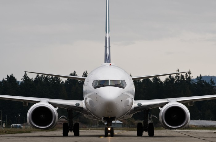 Frontal view of Boeing 737 on the tarmac