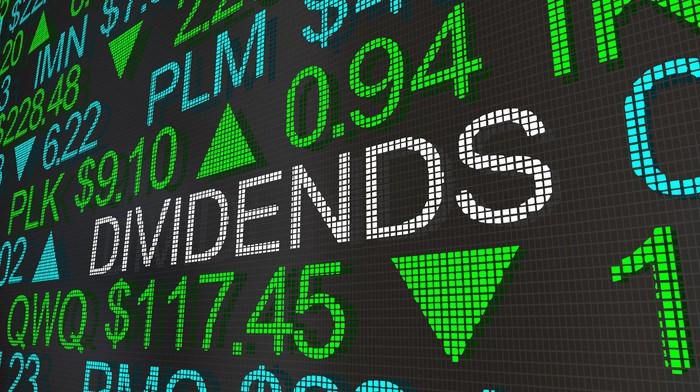 An electronic board with stock tickers says the word dividends in between tickers.