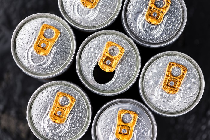 Cans of energy drinks.