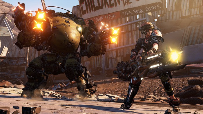 Two characters from 'Borderlands 3' firing weapons.
