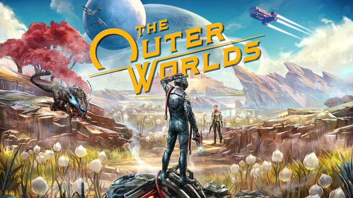 Art from 'The Outer Worlds' featuring characters on an alien planet.