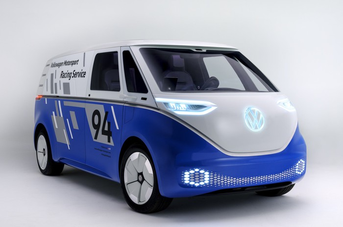 VW's ID. Buzz, an electric van with styling inspired by the 1960s VW Microbus, in commercial-van guise