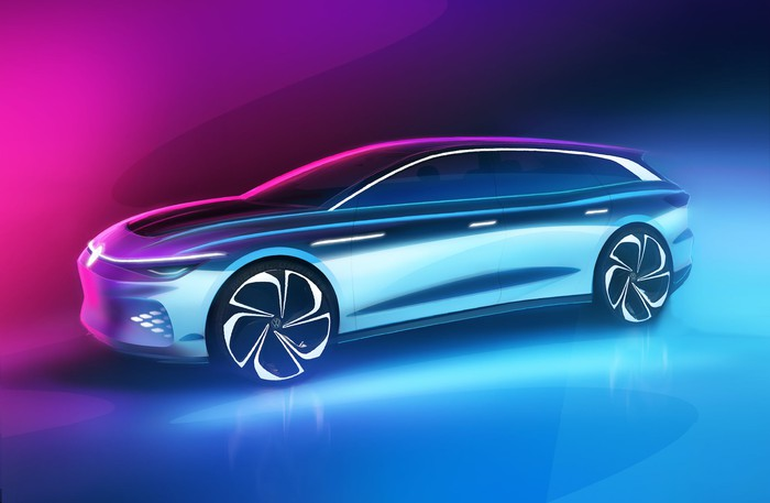 A rendering of VW's ID. Space Vizzion, a sleek electric station wagon