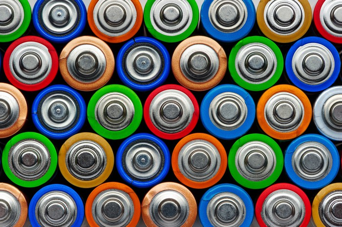 A large pile of colorful AA batteries, seen from the plus-contact side.