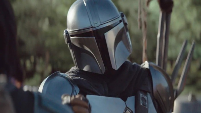 A picture of the Mandalorian, a helmeted Star Wars character fronting the new Disney+ service.