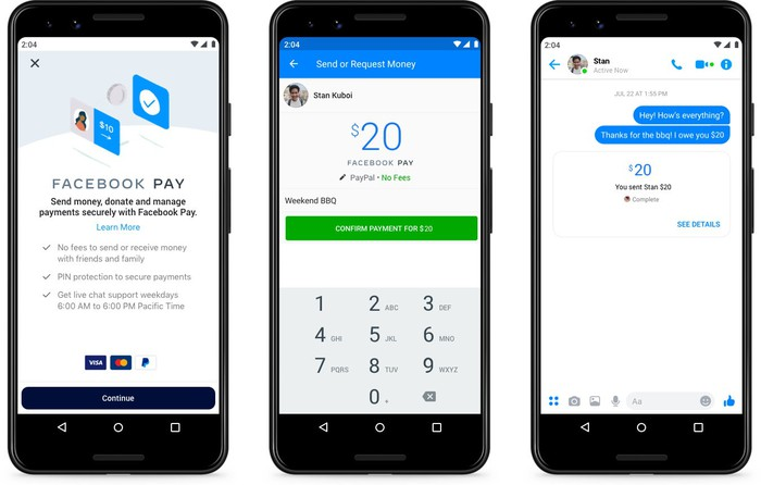 Three smartphones displaying screenshots depicting the use of Facebook Pay in Messenger.