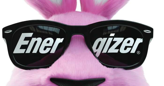 Pink bunny with black sunglasses reading Energizer.