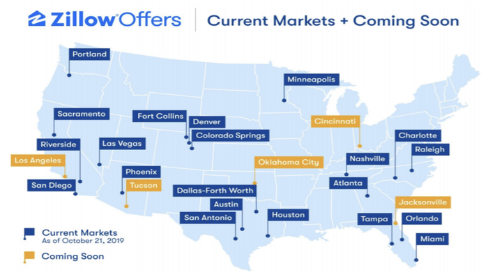 A map of Zillow Offers' current markets throughout the U.S.