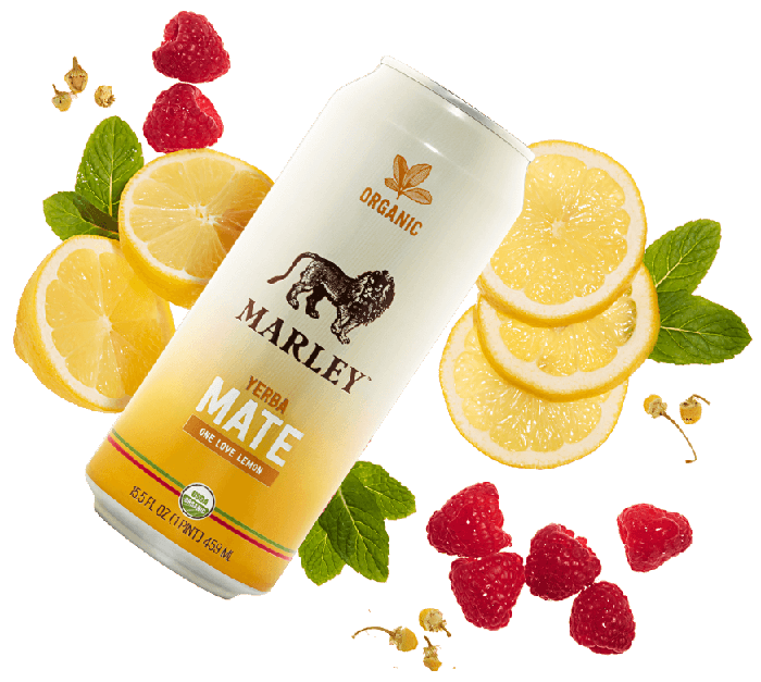 NewAge's Marley cannabis drink with fruits behind it