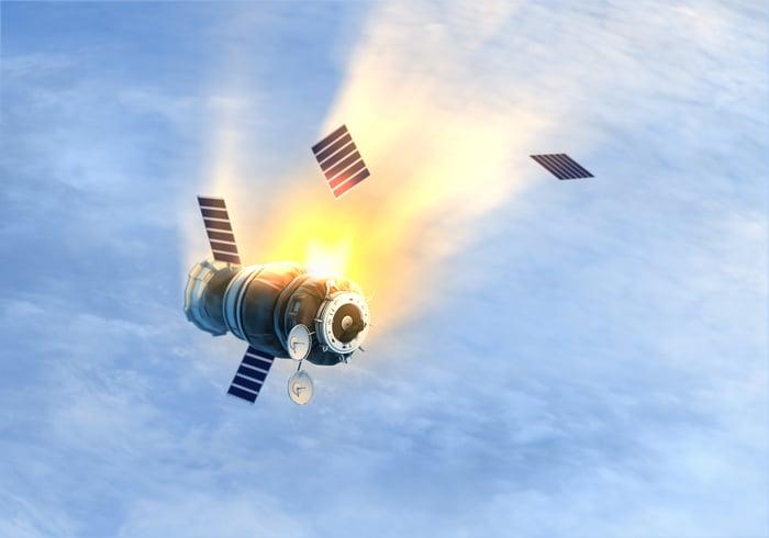 Satellite falling through sky and burning
