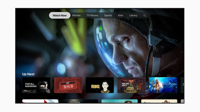 Apple TV+ interface displayed on a TV