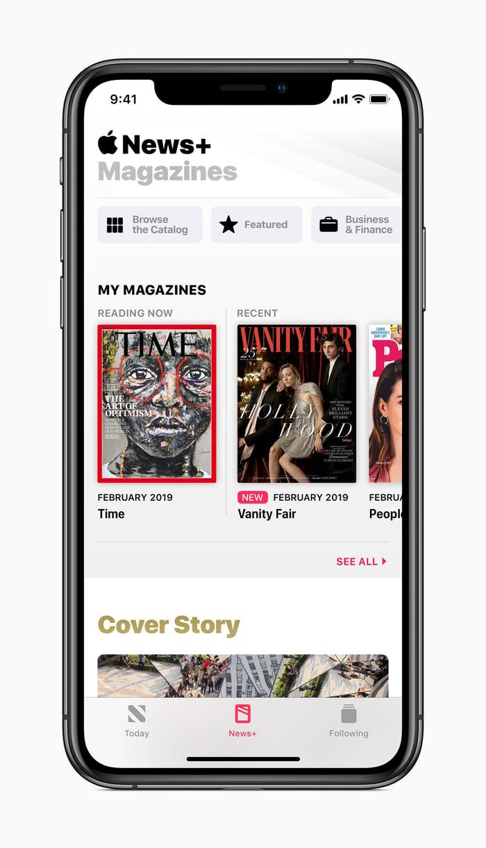Apple News+ on an iPhone